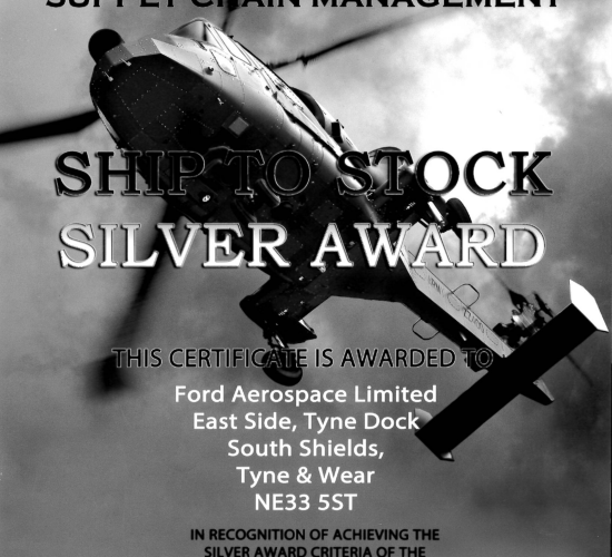 Certificate in recognition of achieving Agusta Westland UK Silver Award